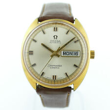 OMEGA VINTAGE SEAMASTER COSMIC AUTOMATIC GOLD DIAL 14K G.F. MENS WATCH ON STRAP