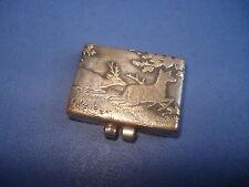 Très petite BOÎTE A TIMBRES ancienne  à décor de VENERIE     antique STAMP BOX