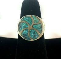 Vintage Sterling Silver Ring Turquoise Stone Inlay Round Sun Petite Sz 6 925