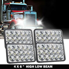 "4x 4x6""inch 90W Rectangle Led Headlight Hi-Lo Seal Beam for Peterbilt Kenworth"