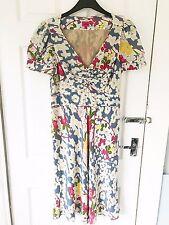 Size 12 Whistles White Pink Blue Silk Floral Summer Knee Length Tea Dress