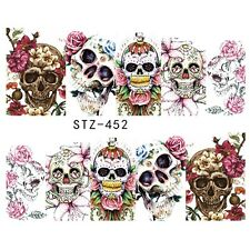Nail Art Water Decals Full Wraps PINK Halloween Skulls Gothic Flowers (452)