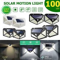 100LED Solar Power PIR Motion Sensor Wall Lights Outdoor Garden Lamps Waterproof