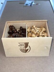 VINTAGE Henri Chavet Chess Set Wooden Pieces Staunton Boxed