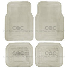4 Piece Set Smoke PVC Vinyl Floor Mats  Liner Utility Pads Set - All Weather