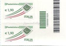 2013 coppiola Posta Italiana Ordinaria € 1,90 CODICE A BARRE 1529