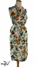 Sleeveless Sheath Vintage 60s Floral Dress - Patio Beach Slip On - L - Hey Viv