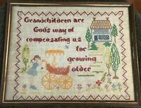 """Vintage Embroidered Cross Stitch Sampler 15"""" x 12"""" Grandchildren"""
