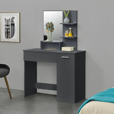 [en.casa] Schminktisch + Spiegel Frisierkommode Frisiertisch Kosmetik Dunkelgrau