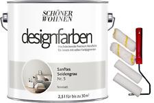 Schöner Wohnen 2,5L Wandfarbe innen Sanftes Seidengrau 5 + Rollerset