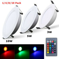 RGB LED Panel Lamp 3 5 10 Dimmable Recessed Ceiling Down Light Bulb w/