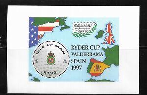 HICK GIRL- M.N.H. ISLE OF MAN SOUVENIR SHEET   SC#756a  1997  RYDER CUP      A1