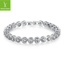Authentic Silver PRINCESS Charm Bracelet With White Round AAA Crystal For Mother