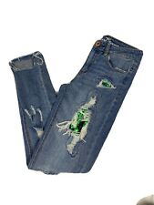Almost Famous Distressed Skinny Mermaid Sequin Jeans Size 0 Midrise