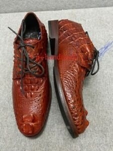 Red  Brown Genuine Crocodile alligator leather Oxford shoes for men Size 12 US