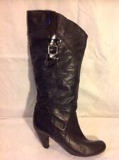 Aldo Black Mid Calf Leather Boots Size 39