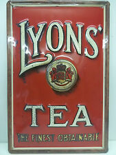 Lyon's Tea The Finest Tin Sign 20 x 30 cm NEW Shield Retro (BS128)