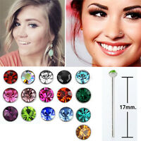 1-10PC 22g Bend It Rose Gold Nose Stud Post 1.25mm Prong Round Clear CZ Crystal