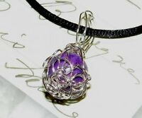 EXQUISITE HAND-CRAFTED SILVER WIRE-WRAPPED CHAROITE PENDANT 1-1/4 Inches