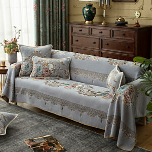 Jacquard Print Sofa Towel Cover 1/2/3 Seater Chenille Couch Slipcover Protector