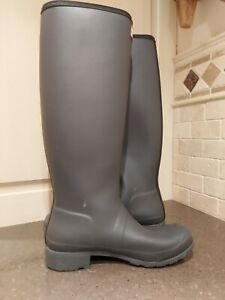 New Hunter Original Packable Tall Rain boot Women 8  Matte finish black/grey ton