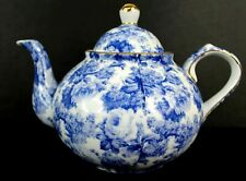 Blue Chintz Collection by Baum Brothers Formalities Blue White Roses 6Cup Teapot