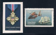 U.S. Coast Guard Cross + Helicopter & Ship - 2 U.S. Stamps - Mint Condition