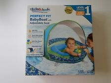 Swim School Baby Boat Float With Canopy Sun Shade Blue Level 1 6-24 Months