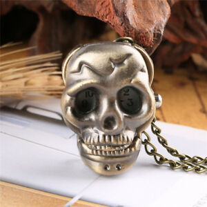 Steampunk Vintage Skull Bone Quartz Analog Pocket Watch Necklace Pendant Chain