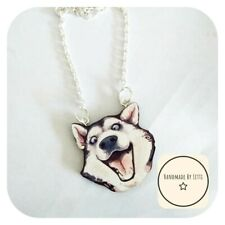 Husky Dog Wooden Necklace 🌟 Crazy Face ✨ Handmade 👀Silver Plated Chain🌈medium