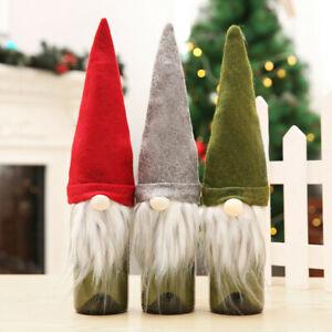 3pcs Merry Christmas Wine Bottle Cover Bag Santa Xmas Party Dinner Table Decor