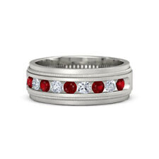 0.60 Ct Real Ruby Diamond Wedding Ring Solid 14K White Gold Men'S Band R S V
