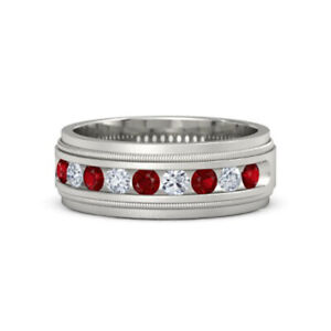 Solid 14K White Gold Men'S Band 0.60 Ct Real Ruby Diamond Wedding Ring Size S V