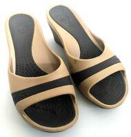 Crocs Sassari Womens Size 8 Wedge Slip On Sandals Slides Flip Flops Tan Pumps