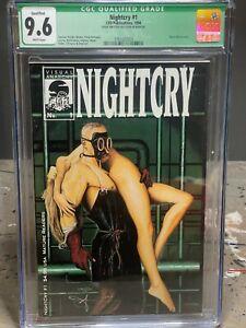 CGC 9.6 NIGHTCRY #1 SIGNED BY Byron Hilton 1994 VISUAL ANARCHY COMIC RARE