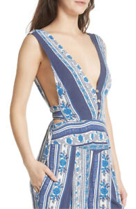 Free People Womens All Shook Up OB793017F Jumpsuit Indigo Combo Blue Size US 4