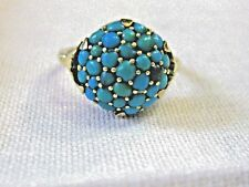 vintage 14 Kt yellow  Gold  Persian Turquoise cluster Ring Size 6
