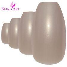 False Nails  Beige Glitter Ballerina Coffin Bling Art Fake Acrylic Tips 2g Glue