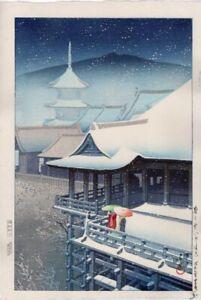 """Kawase Hasui Japanese Woodblock Print """"Spring Snow, Kiyomizu(Kyoto)"""""""