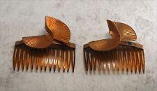 Vintage Hair Comb Pair Ridged Twist Brass Metal SteamPunk Side Comb
