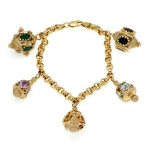 Multi-Color Gems 14k Yellow Gold 5 Fancy Charms Chain Bracelet LIQUIDATION!