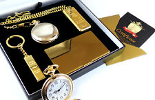 CASINO Gambling 24k Gold Clad Pocket Watch Card Case Lighter & Keyring Gift Set