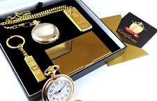 CASINO Gambling 24k Gold Clad Pocket Watch Card Case Lighter & Keyring Gift Set