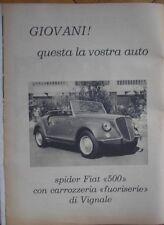FIAT SPIDER SPYDER 500 VIGNALE GAMINE PUBBLICITA 1968 ADVERTISING WERBUNG