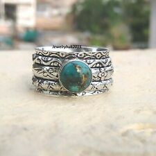 Copper Turquoise Ring 925 Sterling Silver Spinner Handmade Ring Size 9 MA487