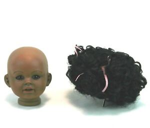 """4"""" Bisque Dark Skinned Doll Head and Wig Boots Tyner Repo 1987 """"Peaches"""" Ethnic"""
