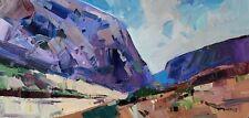 JOSE TRUJILLO Oil Painting IMPRESSIONISM DESERT SOUTHWEST LANDSCAPE 12X24 NR COA