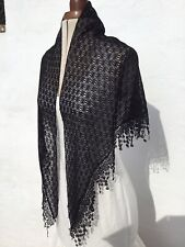 Spanish Flamenco Gypsy Shawl/Manton Soft  Black Knitted Lace With Fancy Border