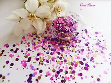 Nail Art Chunky *SalSa* Pink Gold Dots Circles Shape Glitter Spangles Mix Pot