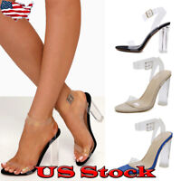 Women Block High Heels Ankle Strap Sandals Transparent Summer Shoes Party NEW